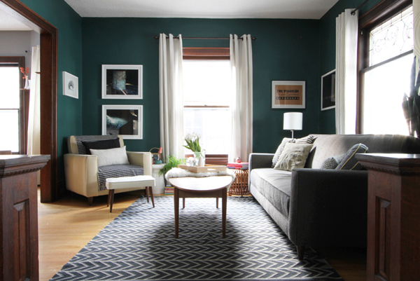 My Dark Teal Living Room - Deuce Cities Henhouse