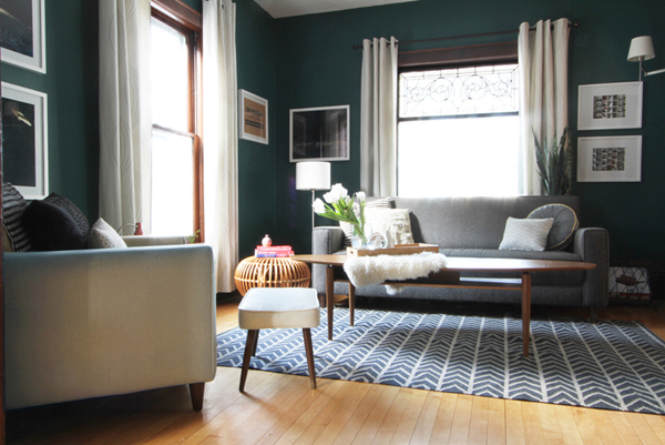 Dark Teal Living Room