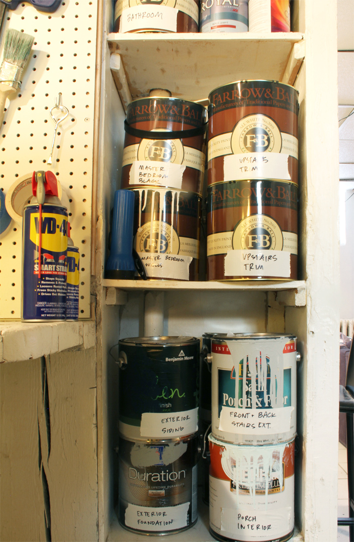 Paint Cans Labeled and Organized