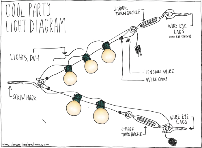 Hanging Outdoor Party Lights on landscape lighting connectors