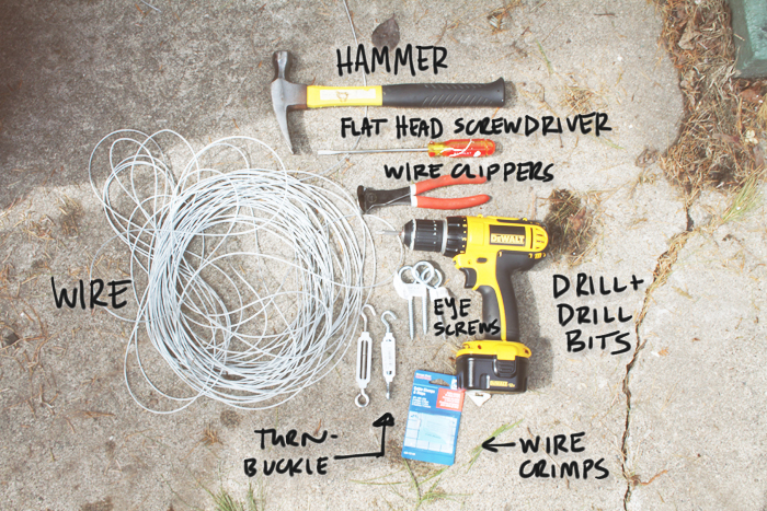 Supplies To Hang A Tension Wire