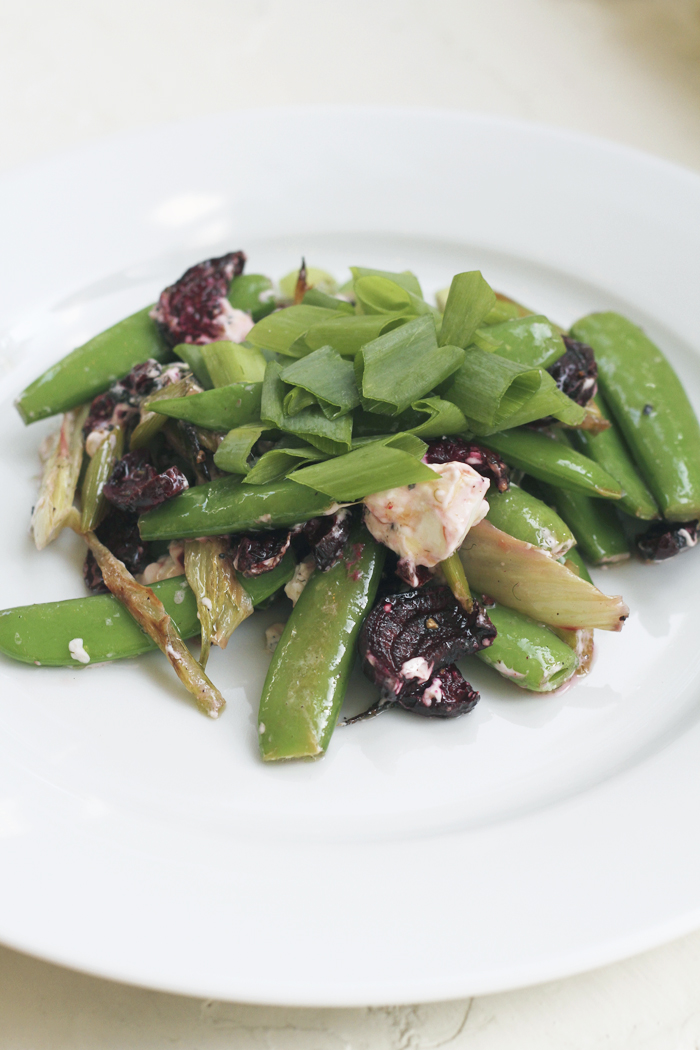 Roasted Beet, Fennel & Pea Salad with Lemon and Goat Cheese