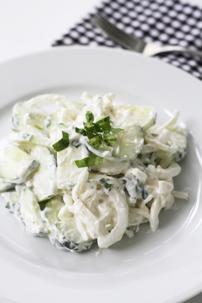 Cucumber & Sweet Onion Salad with Yogurt