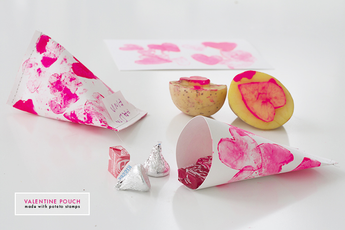 Deuce Cities Henhouse - DIY Valentine Pouches made with Potato Stamps