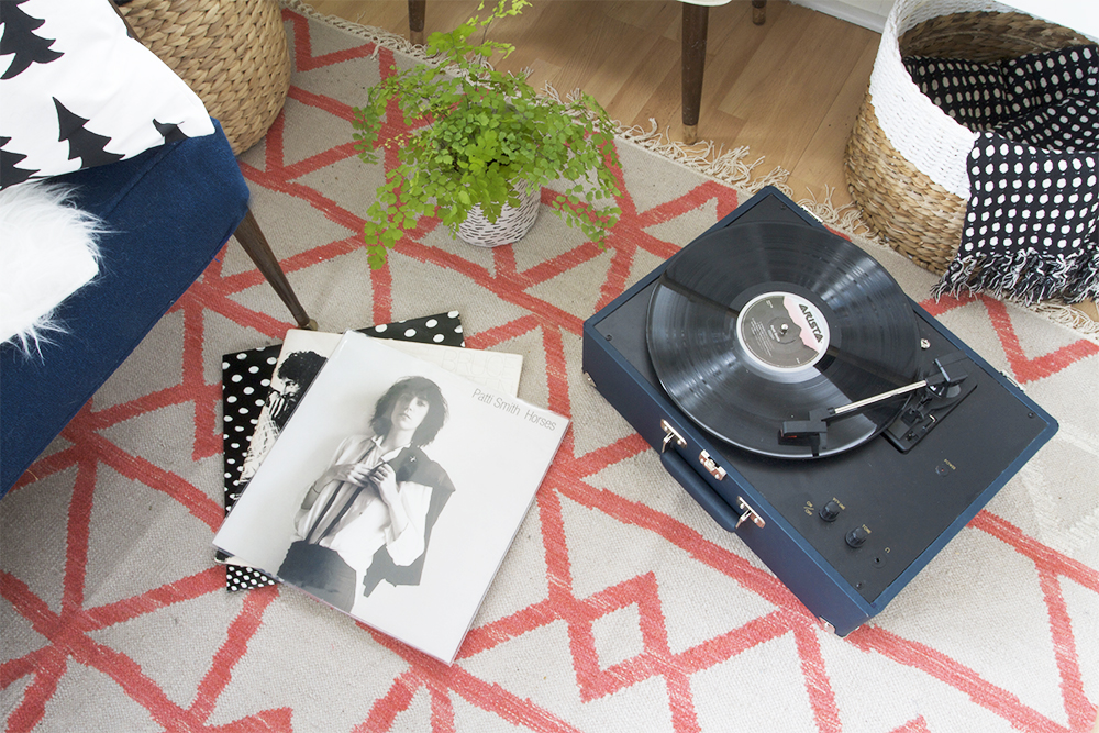 Navy Crosley Turntable and Guava Torres Rug