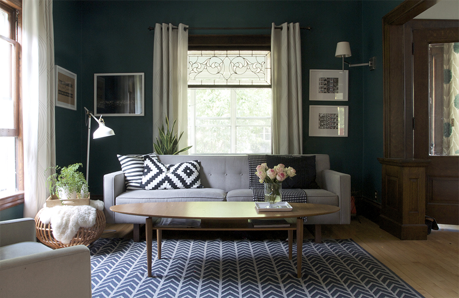 Dark Teal Living Room with Black and White Accents