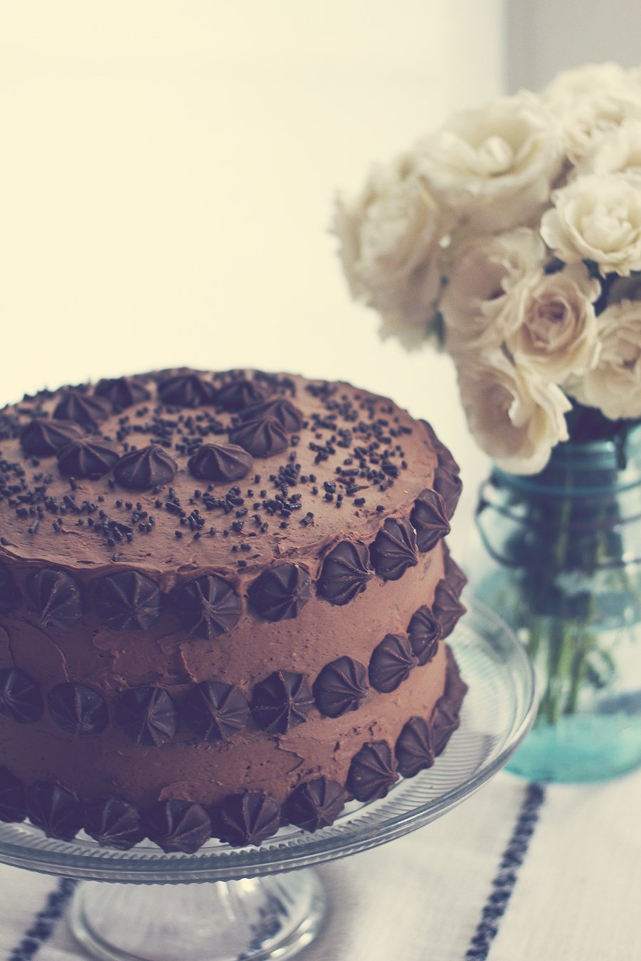 Easy Cake Decorating - Chocolate Cake with Chocolate Frosting and Chocolate Chips!