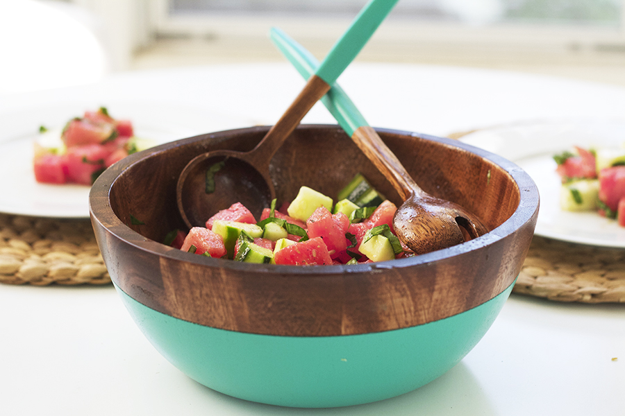 Savory Watermelon & Cucumber Salad with Lime and Basil