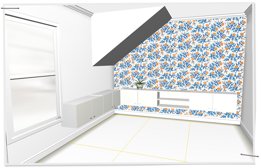 Plans for a wrap around fauxdenza and wallpaper
