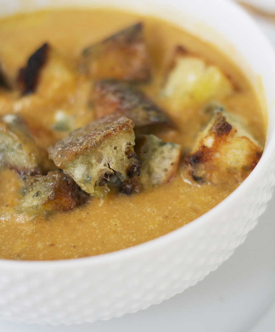 Spicy Sweet Potato Bisque with Bleu Cheese Croutons