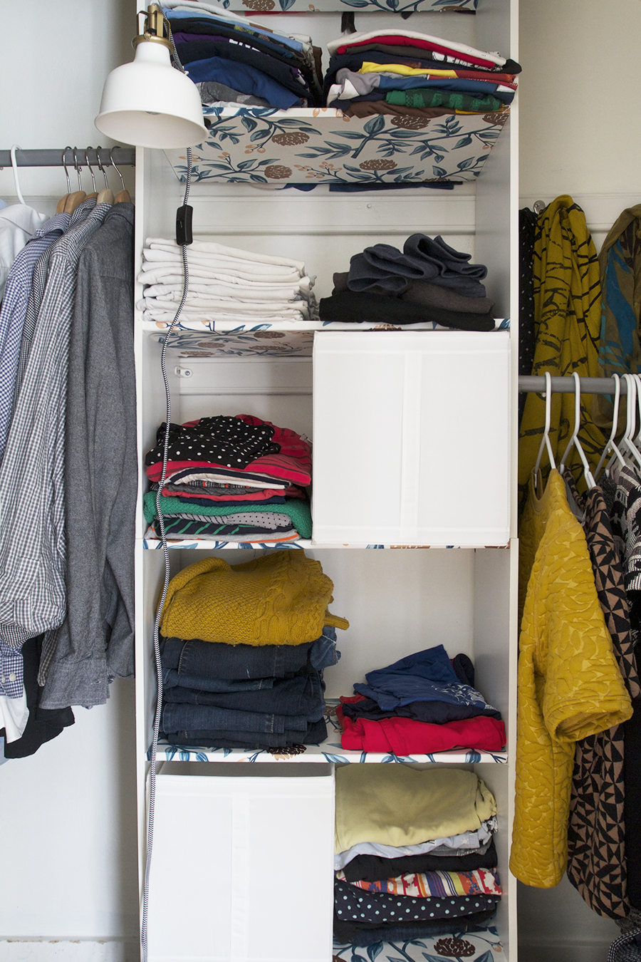 Easy Closet Clean Up, Wallpaper shelves and paint for a fresh look