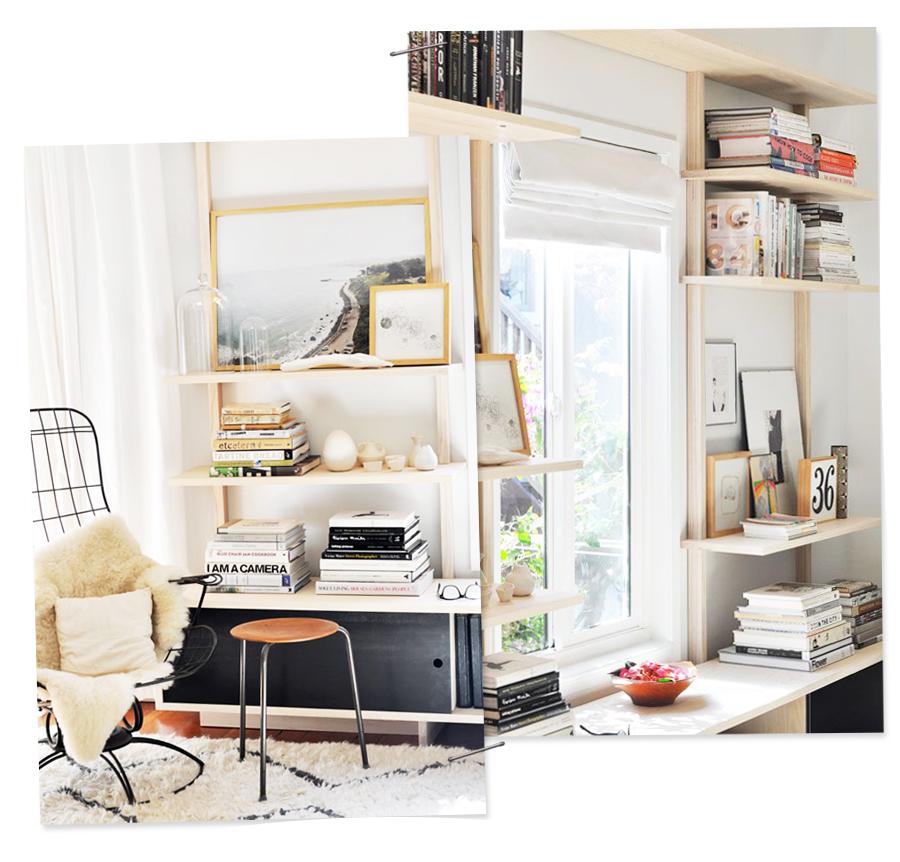 Monochromatic Bookshelf Styling