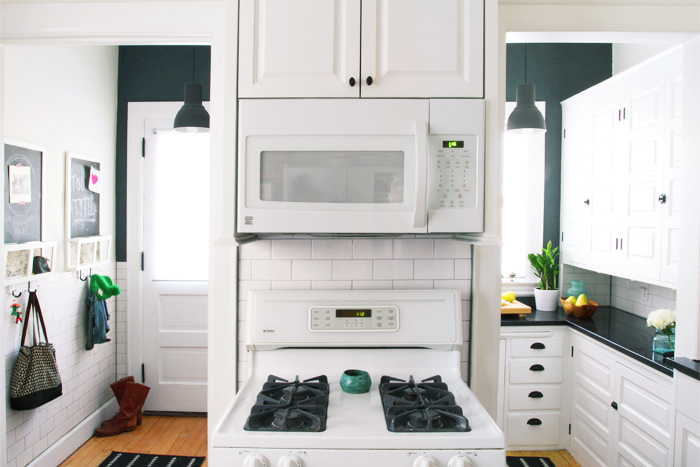Deuce Cities Henhouse Kitchen Reveal - Black and White Kitchen and Mudroom