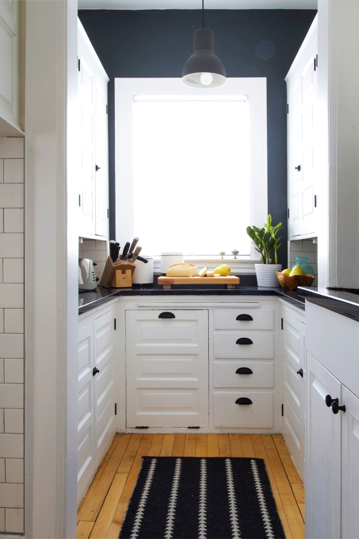 Deuce Cities Henhouse Kitchen Reveal - Black and White Kitchen, Subway Tile Backsplash