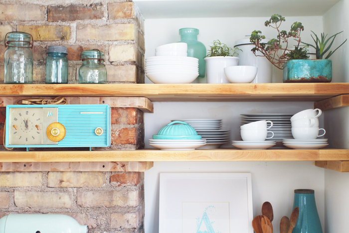 Deuce Cities Henhouse Kitchen Reveal - Butcher Block Shelves Detail