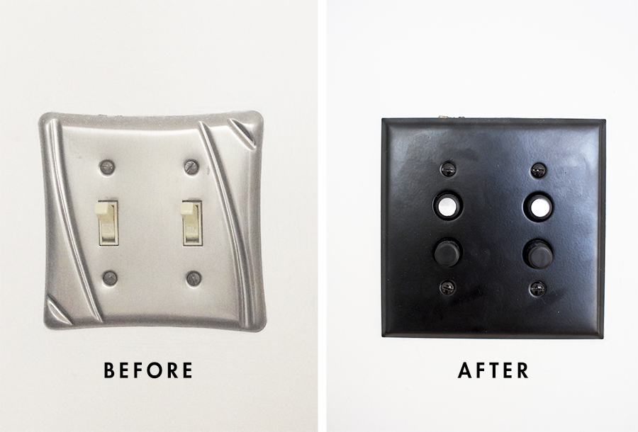 Upgrading outlets - replacing switches with reproduction button switches and updating plate cover
