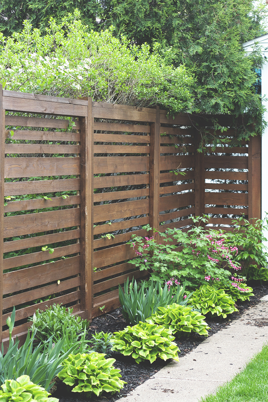Horizontal Fence Stained Dark Brown