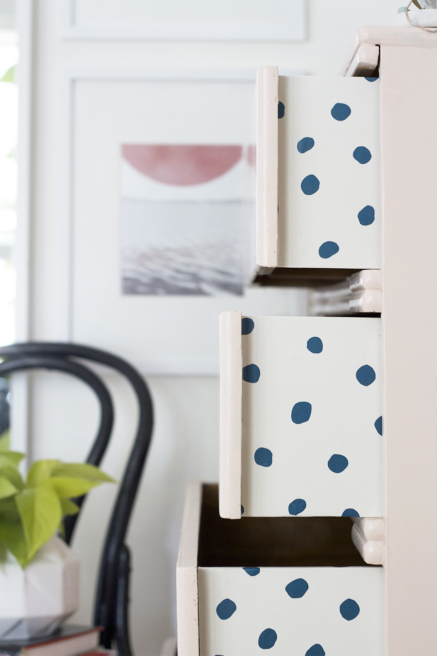 Peekaboo Pattern in a chest of drawers featuring JuJu Wallpaper