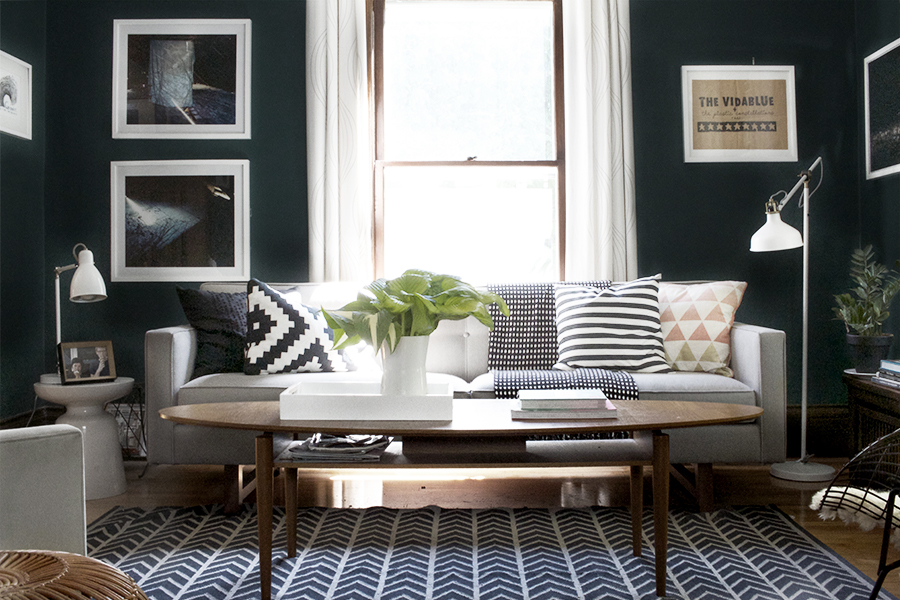 Dark Blue Living Room | Deuce Cities Henhouse