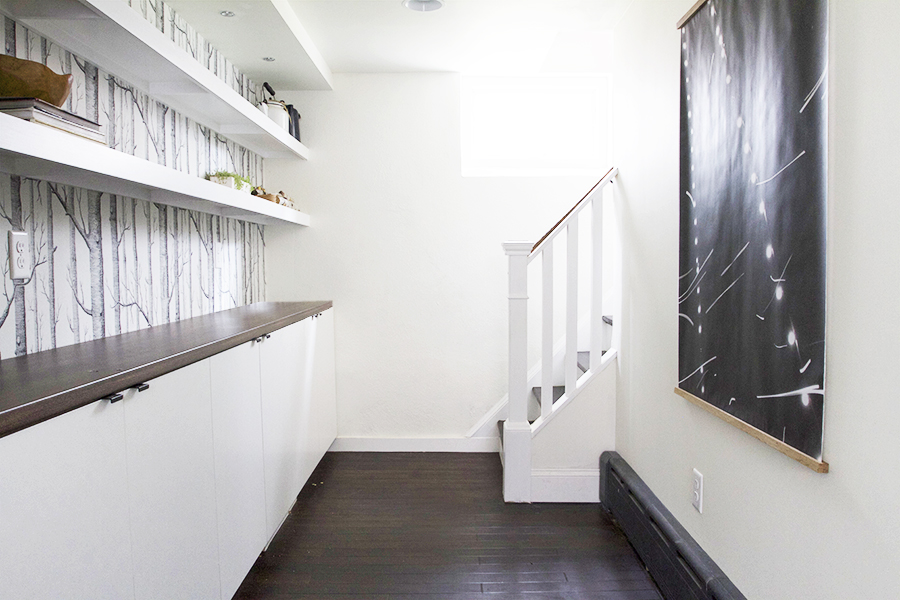 Basement hallway - Stairs, Shelves & Art