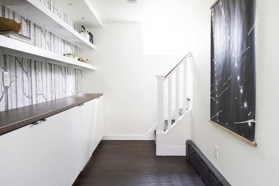 Basement hallway - Stairs, Shelves & Art