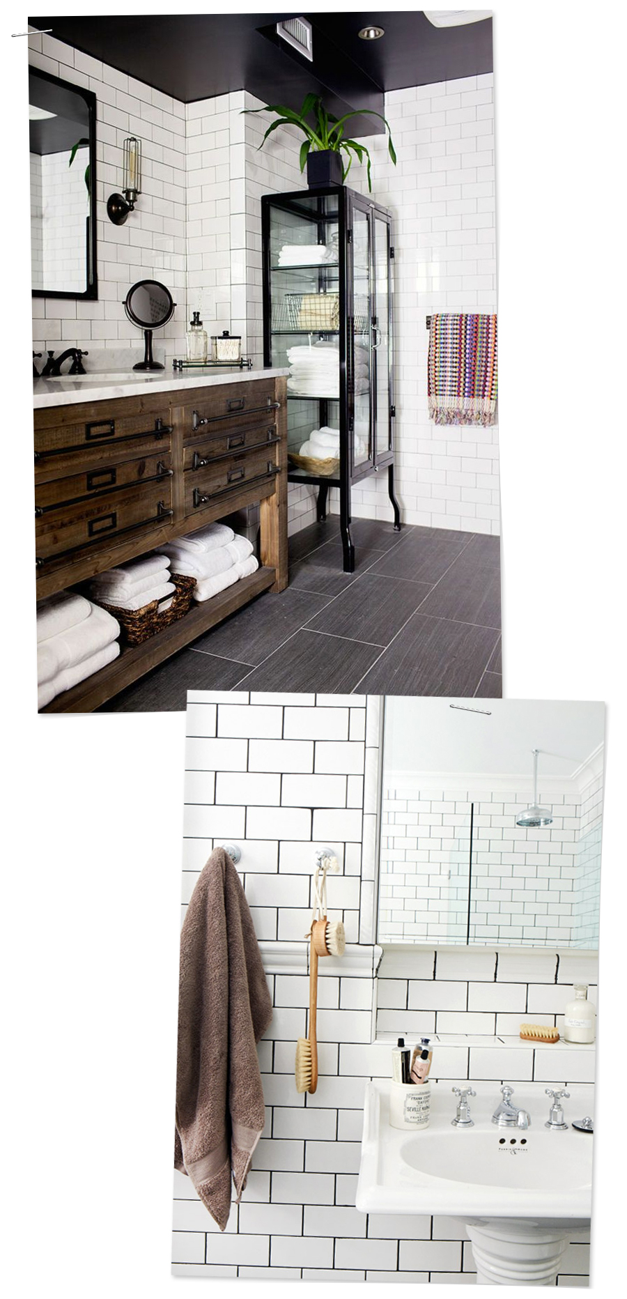Inspirational Bathrooms : Subway Tile, Black floors, and lots of natural texture