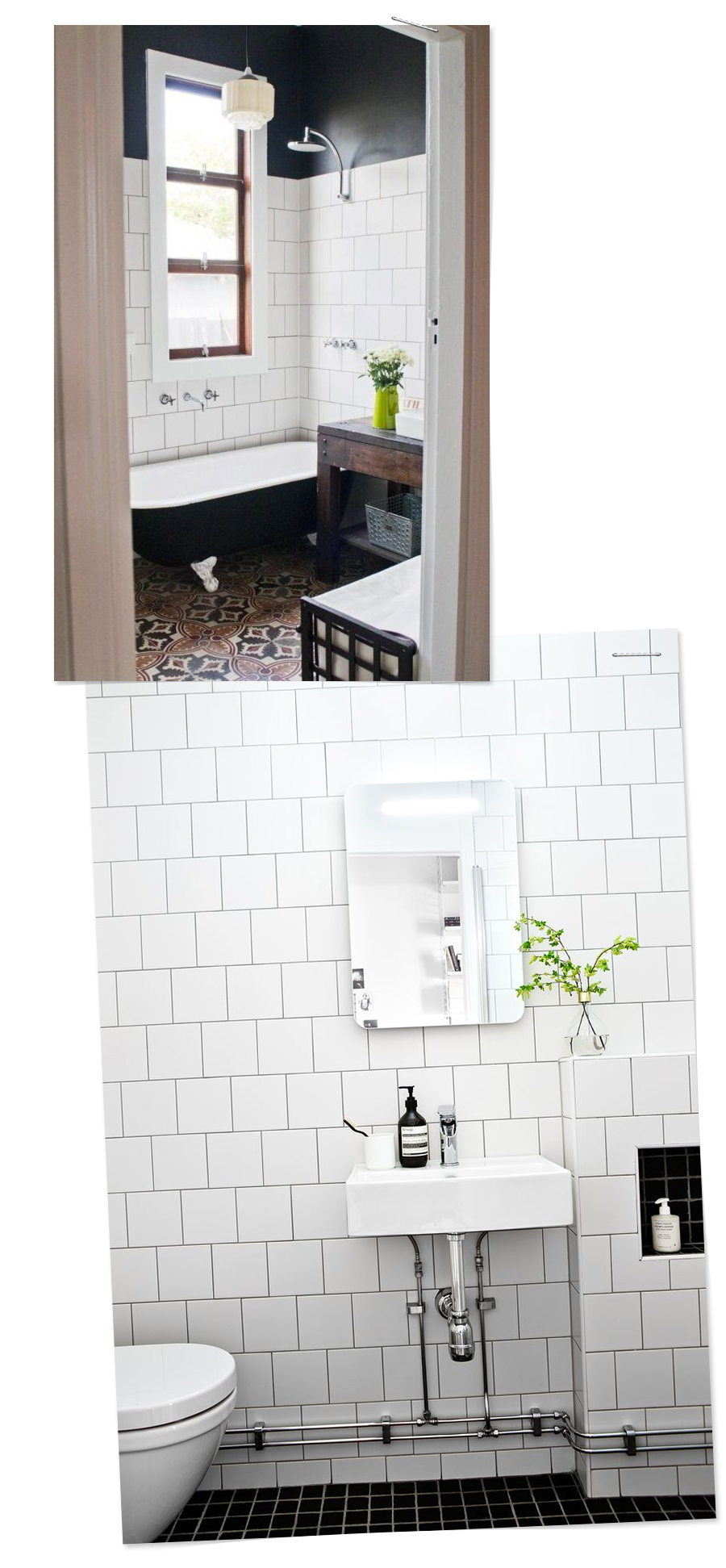 Inspirational Bathrooms : White square tile in an offset pattern with black grout