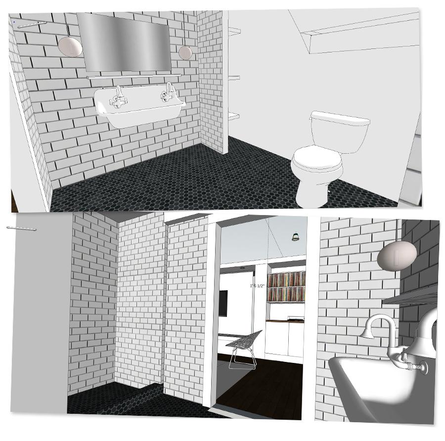 3D rendering for basement bathroom | Deuce Cities Henhouse