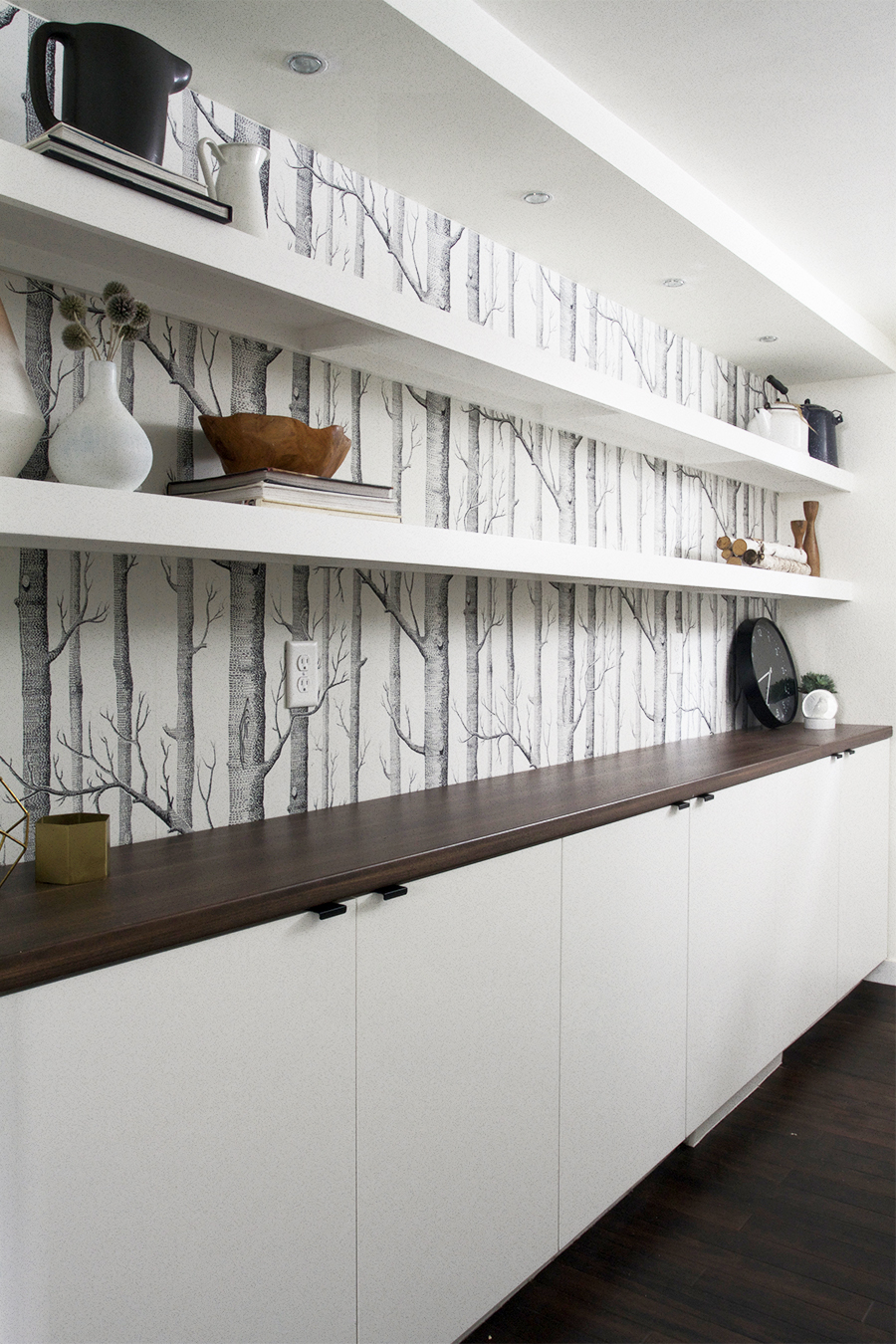 Floating Shelving in a Scandinavian Inspired Basement Renovation