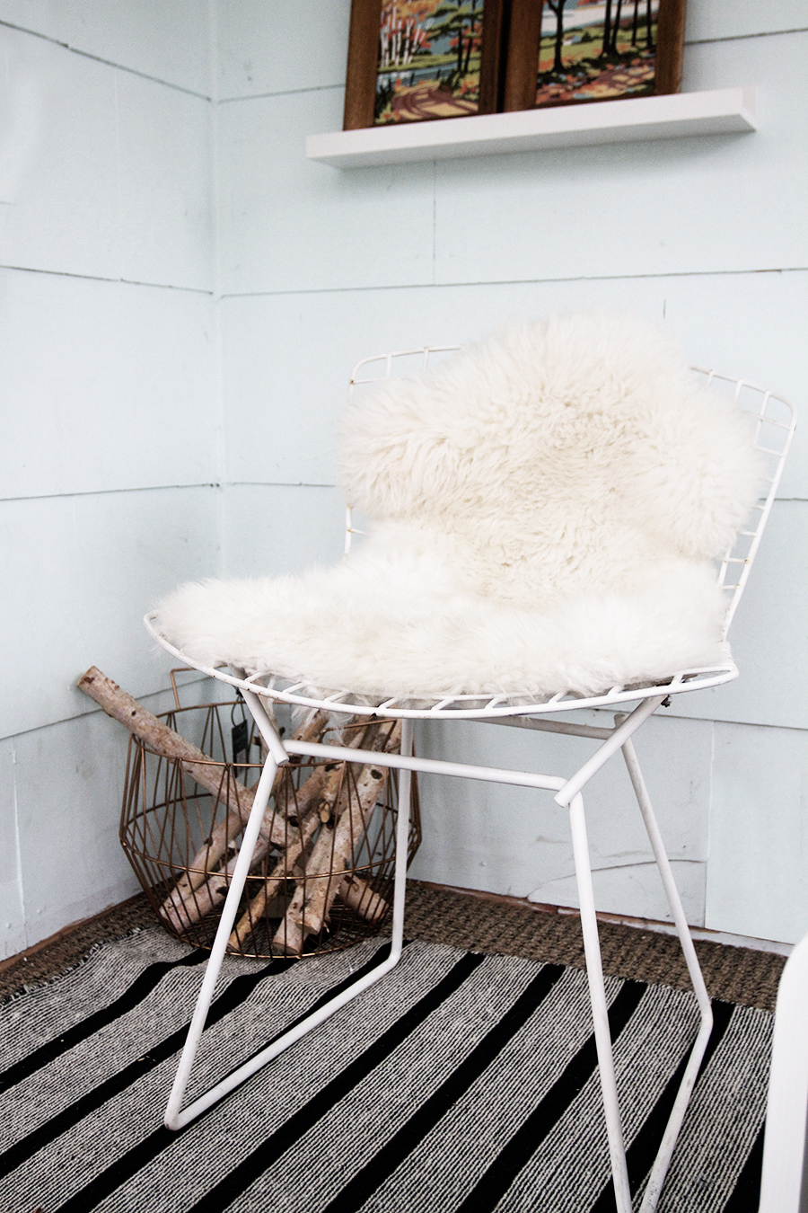White Bertoia Chairs in the Front Porch
