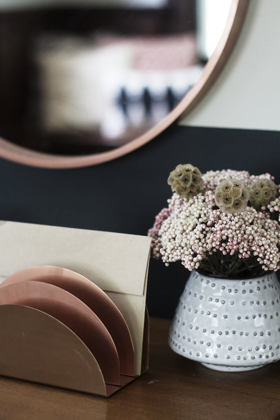 DIY Round Leather Strap Mirror in Copper
