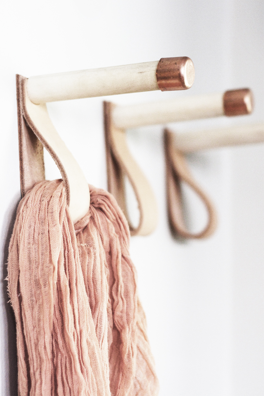 Leather, Wood and Copper Coat Hooks