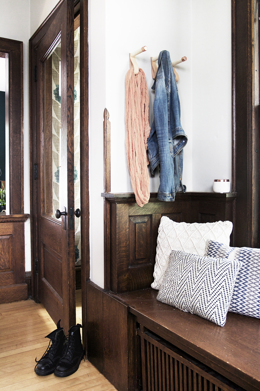 DIY Coat Hooks using Copper, Wood Dowel, and Leather Strapping