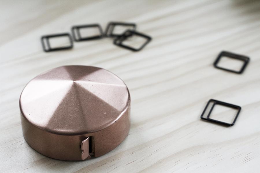Copper Tape Measure and Square Paper Clips