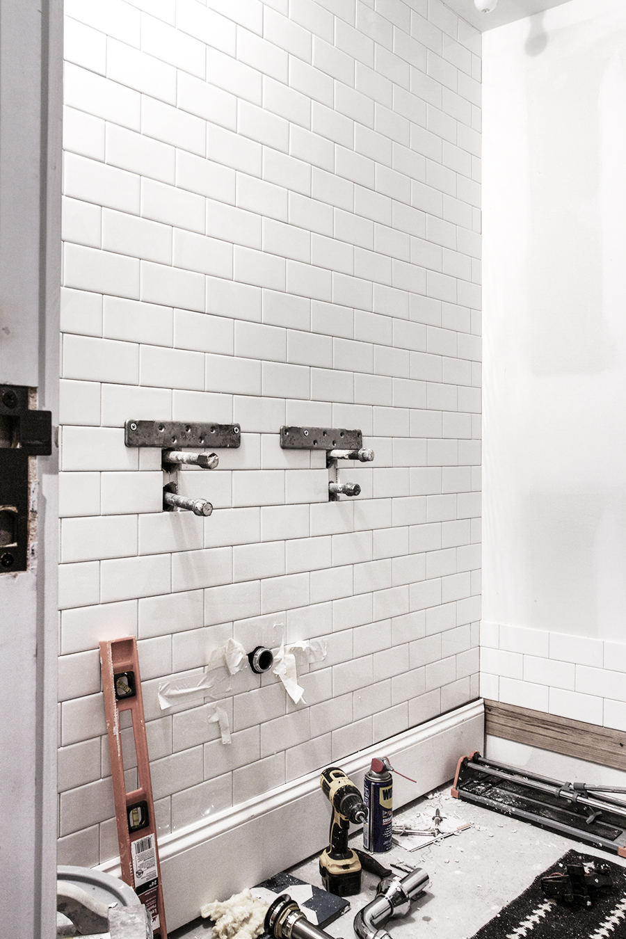 Bathroom Progress | Tiling with Subway tile