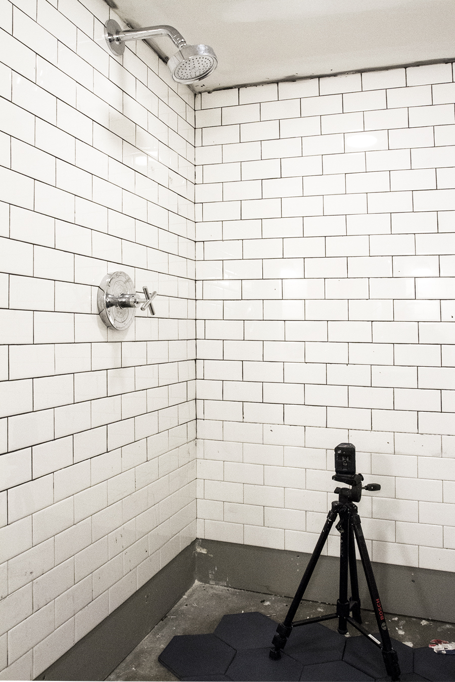 Subway Tile with Black Grout Shower Stall