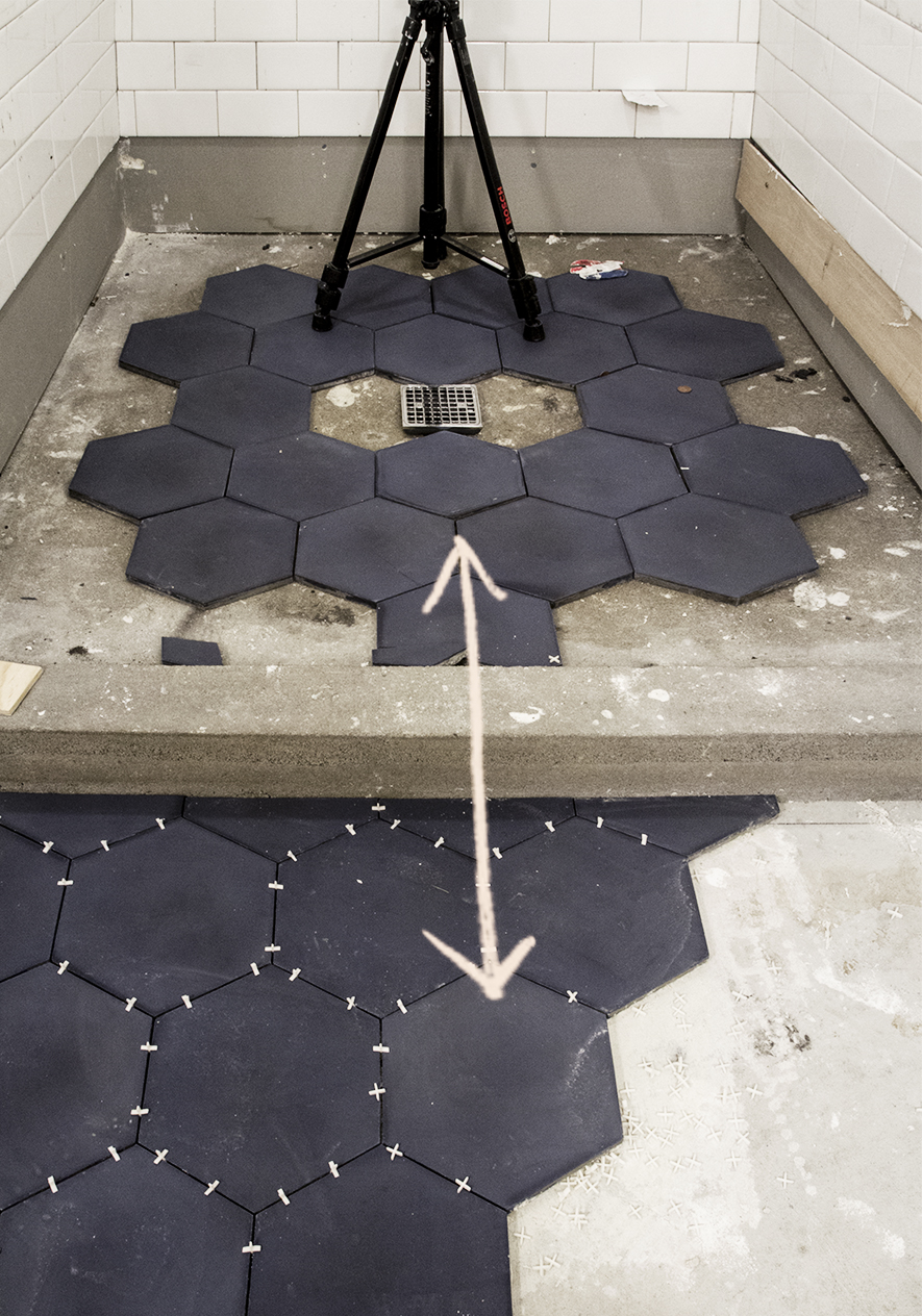 Cement Hexagon Tile by Clé Tile Installation