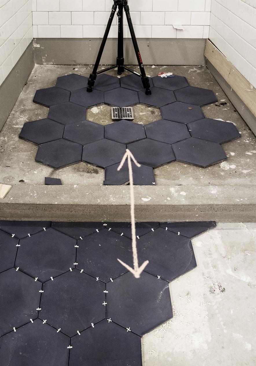 Cement Hexagon Tile by Clé Tile Installation