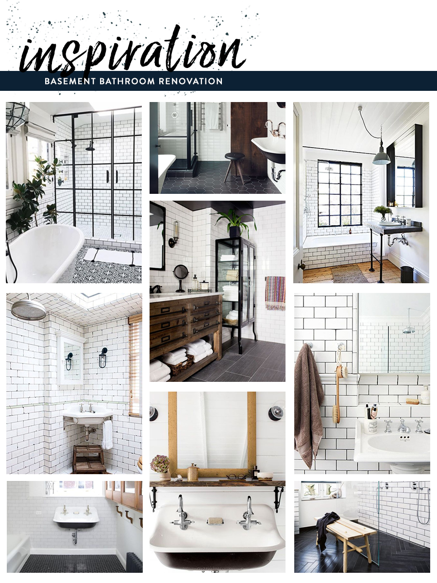 Black, White & Navy Mood Inspiration for a Basement Bathroom/></p> <img src=