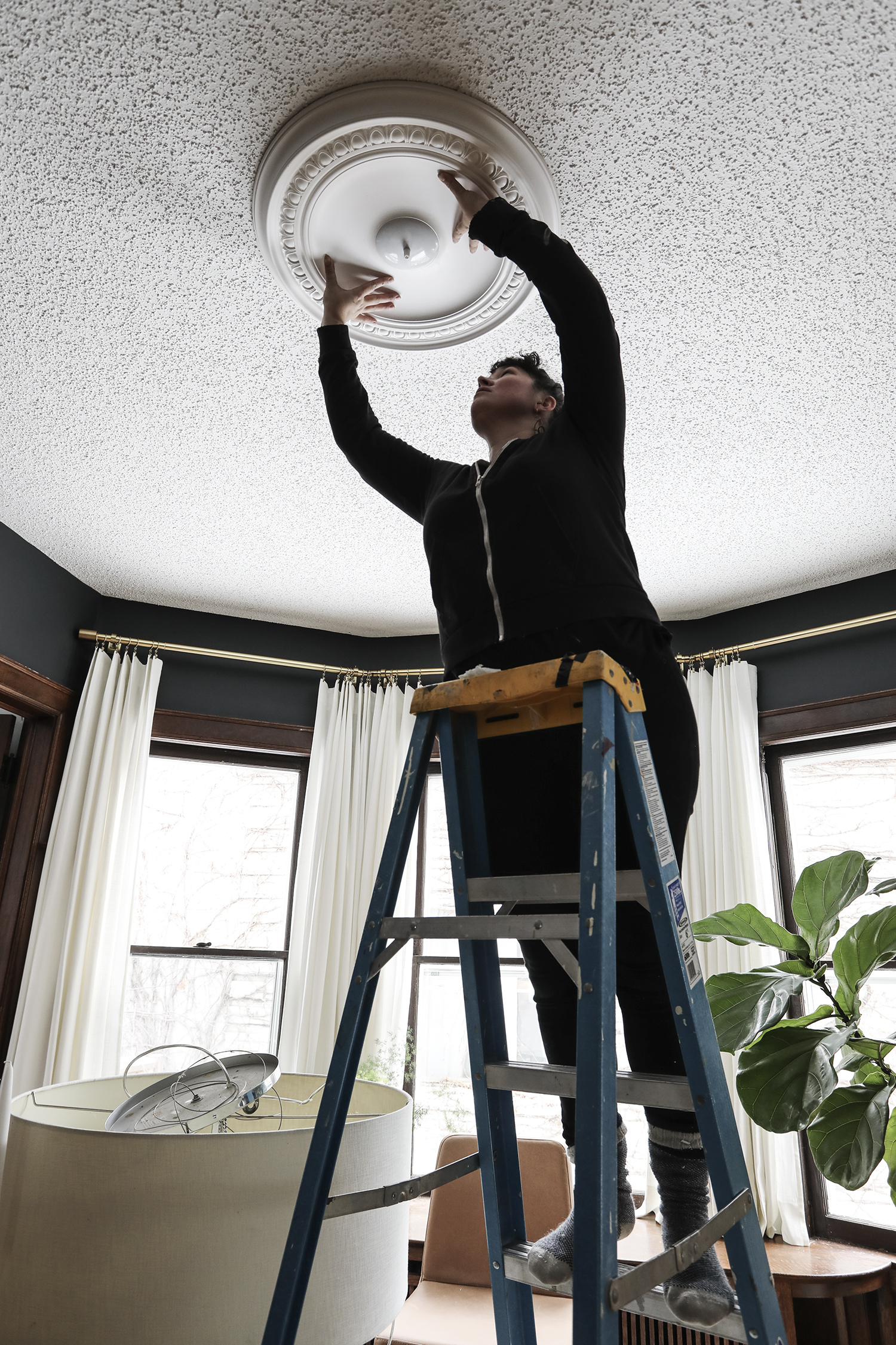 Installing a Ceiling Medallaion | Deuce Cities Henhouse