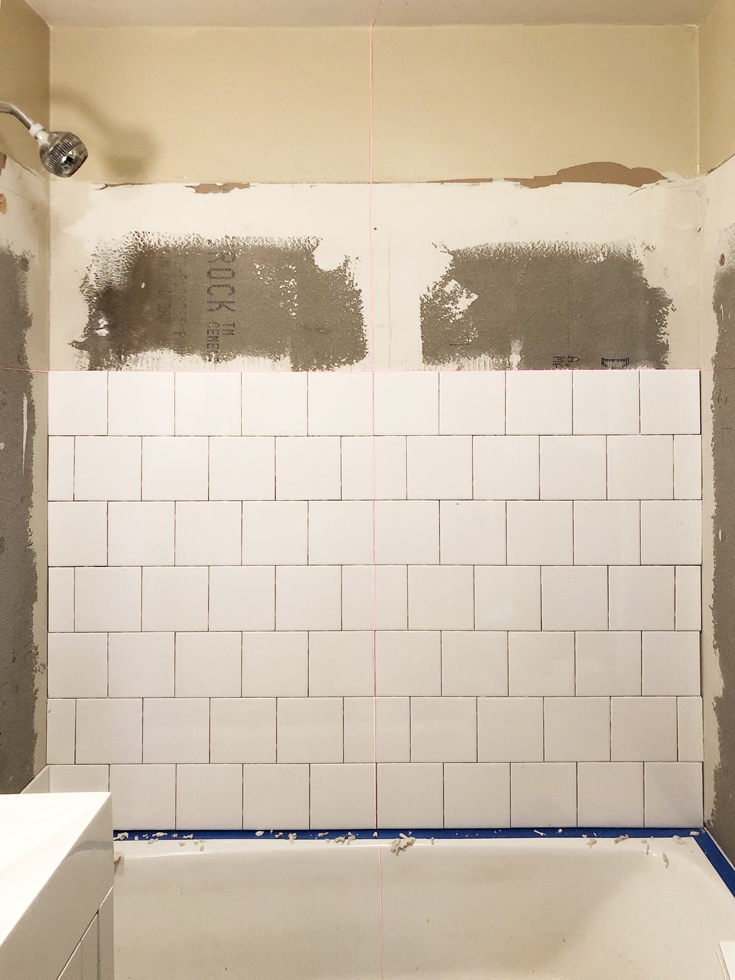 Bathroom Tile Progress at the Cabin