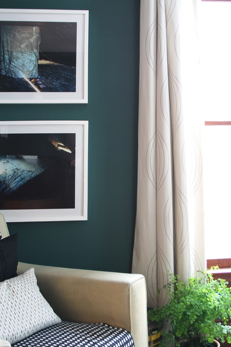 White Frames on a Dark Teal Wall