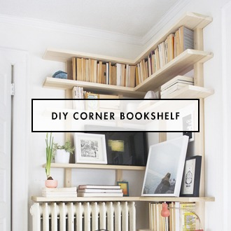 DIY modern corner bookshelf
