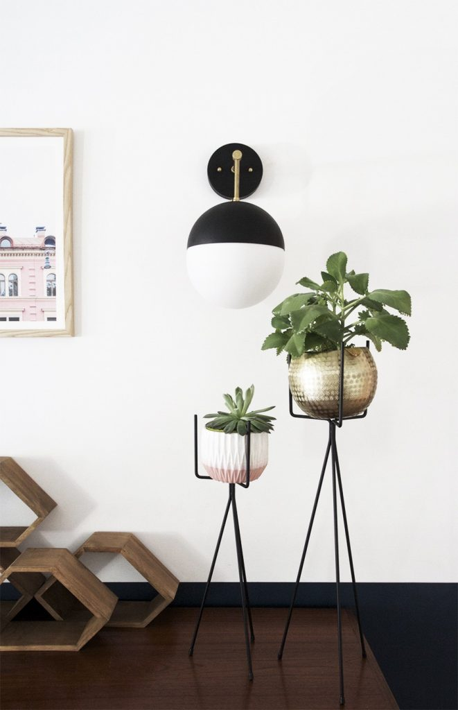 DIY Light Fixture : Brass & Black Globe Sconce