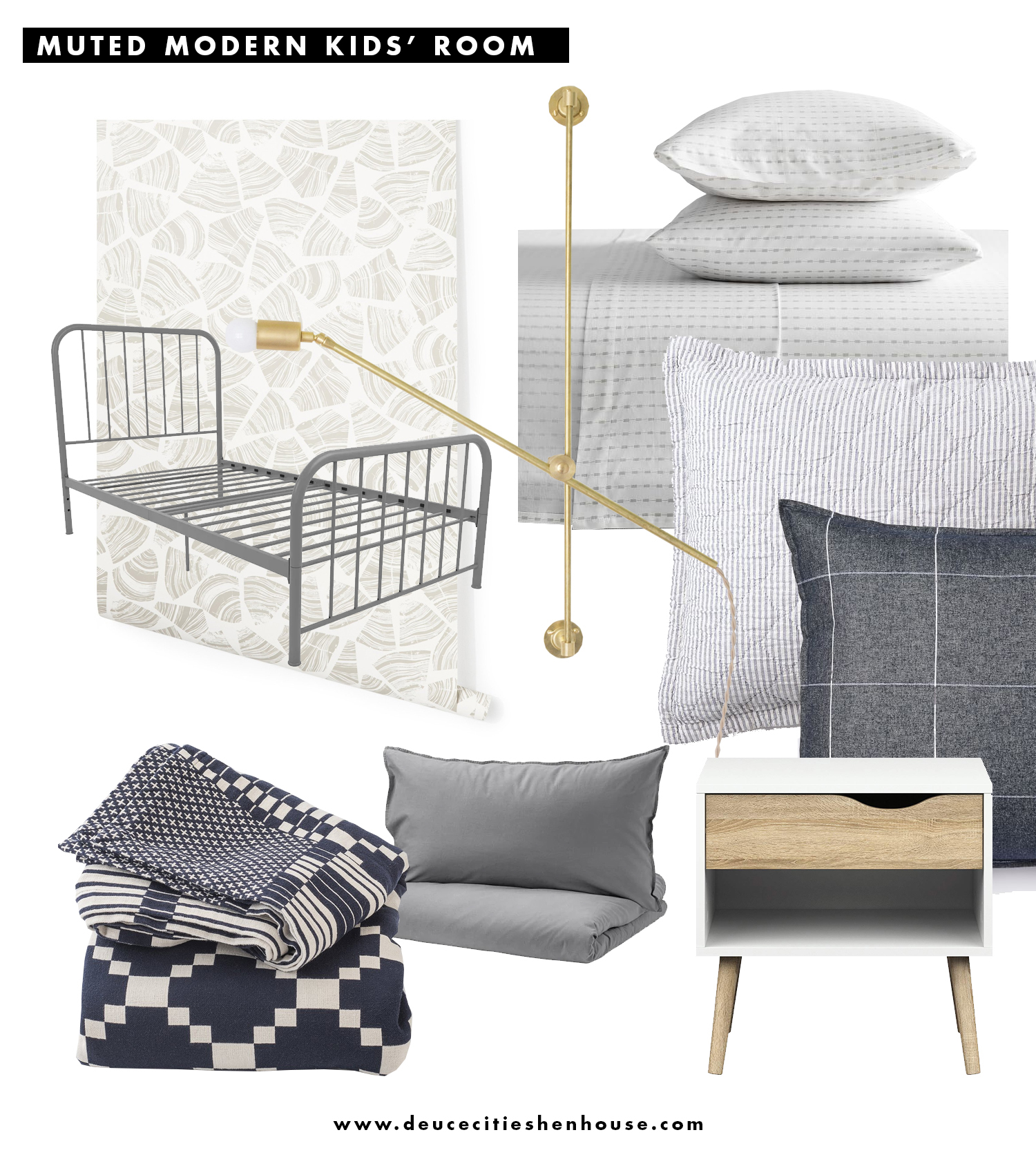 A Plan for The Kids' Shared Bedroom : Modern & Muted - Deuce Cities Henhouse