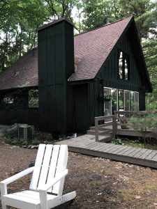 Painting the Cabin Dark Green