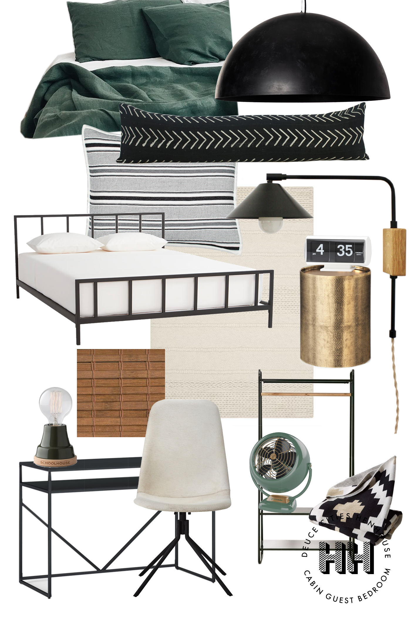 A Modern Green, Black and Brass Look for The Cabin Guest Bedroom