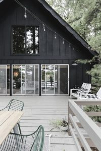 Our Freshly Painted Black Cabin